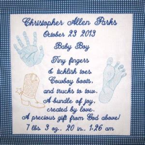 custom birth announcement personalized baby embroidery