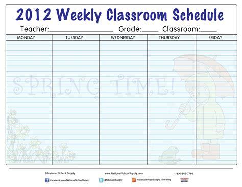 New Printable! Spring Themed Weekly Classroom Calendar