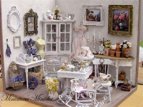 miniature dollhouse parisian antique shop shabby chic style