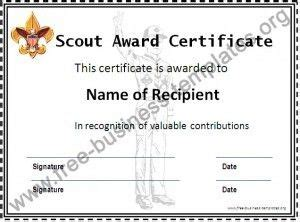 Boy Scout Leader Business Card Template by Boy Scout Certificate Template Review At Kaboodle