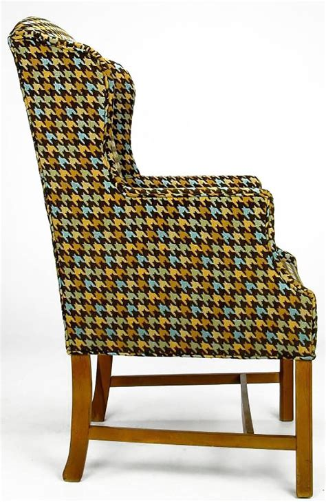 Houndstooth Chair by Pair Of 1940s Wing Chairs In Colorful Overscaled