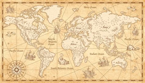 vintage parchment world map wall mural wallpaper