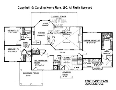 large open floor plan homes large open floor house plan chp lg 2621 ga sq ft large
