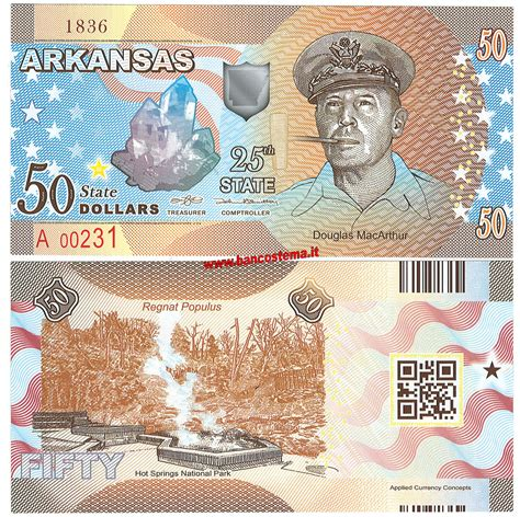 Arkansas The 25th State by Usa 50 Dollars Arkansas 25th State Polymer
