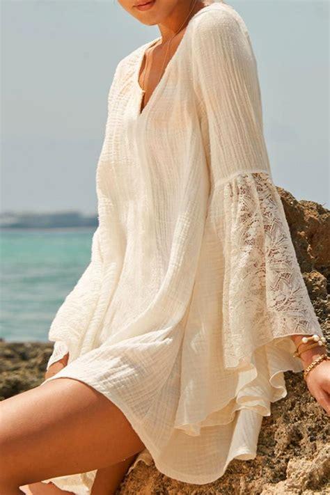 zaful preguntas frecuentes v neck lace splicing solid color dress white summer