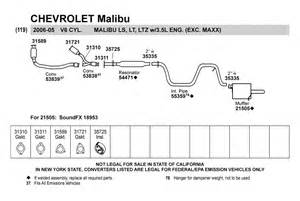 2005 Chevy Malibu Exhaust System Diagram Walker 174 54471 Resonator Assembly