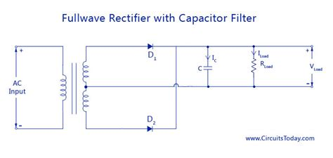 capacitor load rectifier filter circuits working series inductor shunt capacitor rc filter lc pi filter