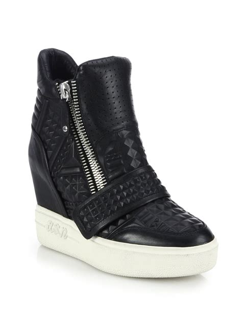 wedge sneakers lyst ash embossed leather wedge sneakers in black