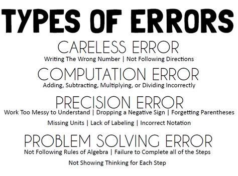 math love error analysis sheet amp types of errors