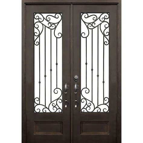 Front Door Iron Iron Doors Windows 72 In X 96 In Lakeland Flat Top Bronze 3 4 Lite Painted