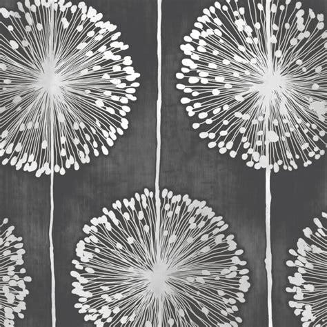 Designer Grey Wallpaper Uk | muriva dandelion floral designer feature wallpaper black