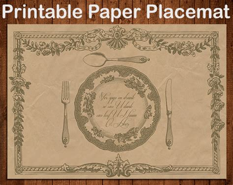 How To Make A Paper Placemat - items similar to printable paper placemat digital diy