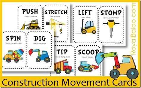 safety pin movement card template free construction movement card printables let s tot