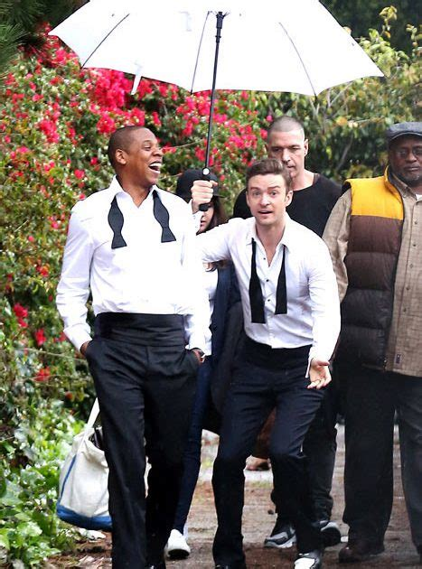 up film music video justin timberlake jay z goof around suit up to film