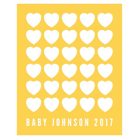 Personalised Baby Shower Book by Hearts Personalised Baby Shower Guest Book Print By Bird