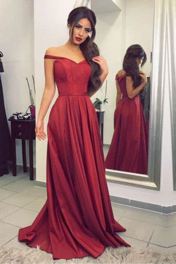 elegant   shoulder burgundy long prom dress