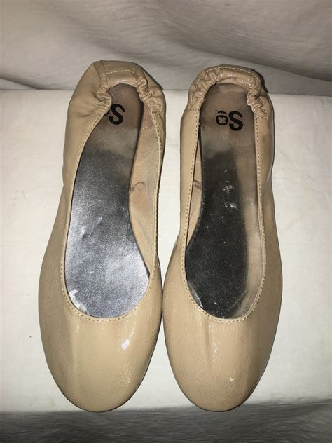 so flats shoes so beige faux patent leather stretch ballet flats