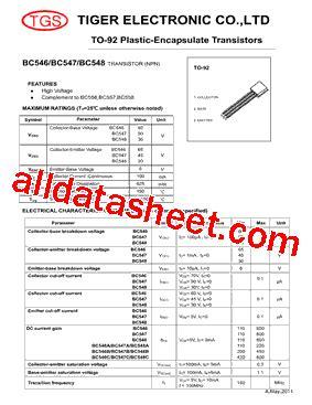 bc547 all transistor datasheet bc547 datasheet pdf tiger electronic co ltd