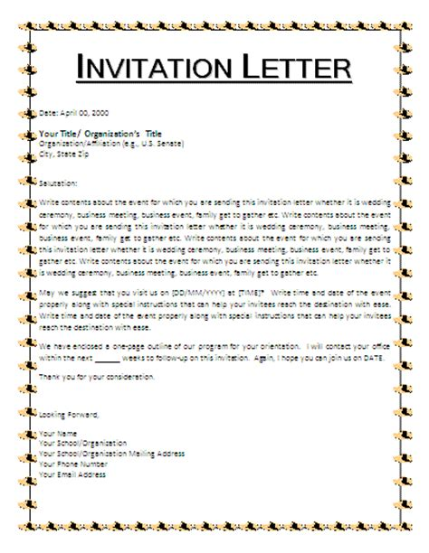 Invitation Letter Birthday Sle Invitation Letter Template Free Business Templates