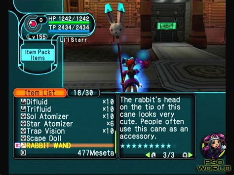 pso section id pso world com items rabbit wand