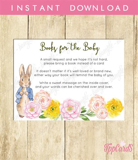 Printable Rabbit Baby Shower Book Rabbit Baby Shower Printable Bring A Book Instead Of A Card Invitation Inserts Baby