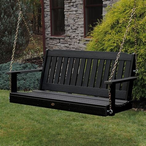 black porch swings highwood usa lehigh plastic black hanging porch swing