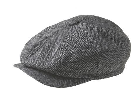Herringbone Newsboy Cap peaky blinders 100 wool herringbone charcoal grey