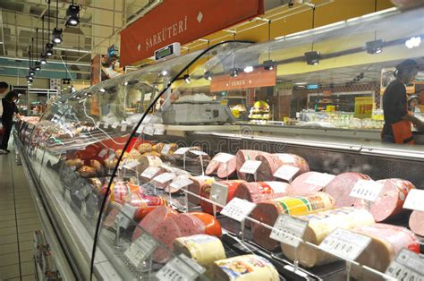 deli section carrefour istanbul deli section editorial photography