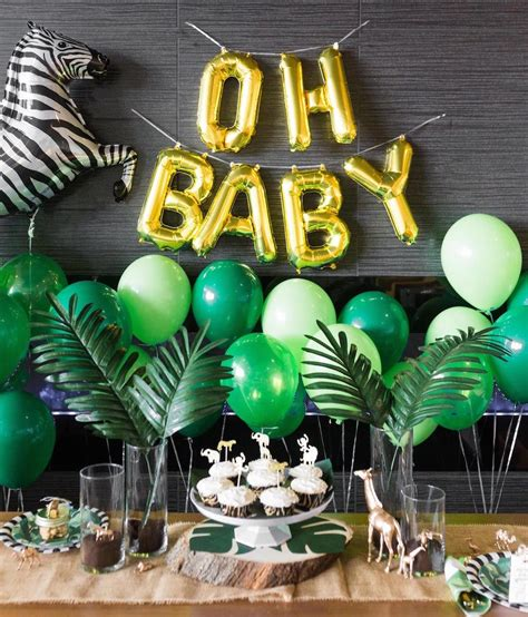 gold themed names safari baby shower black twine 1st birthday party