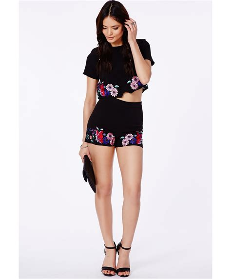 High Waist Embroidered Shorts high waisted embroidered shorts hardon clothes