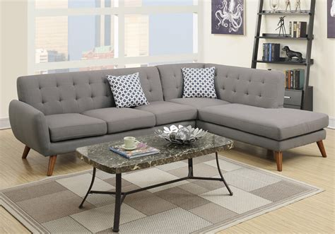 Grey Linen Sectional Sofa by Modern 2 Pcs Sectional Sofa Chaise Tufted Back Grey
