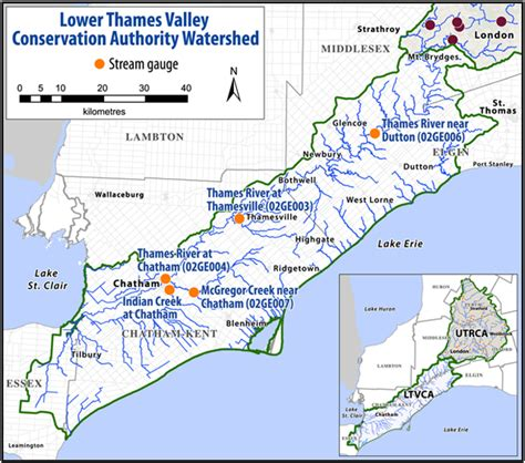 map of the thames river in ontario ltvca stream gauges utrca inspiring a healthy environment
