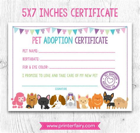pet adoption certificate template pet adoption certificate pet adoption birthday