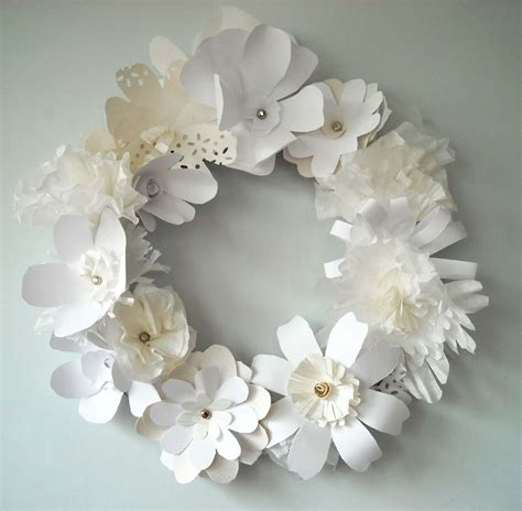 Paper Flowers - diy white paper flower wreath the sweetest occasion