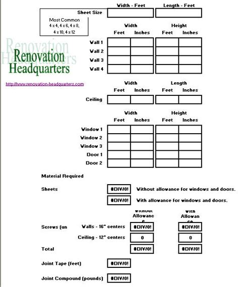 Gypsum Ceiling Material Calculator by Drywall Concrete Board Green Board Sheetrock Calculator