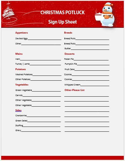 printable christmas sign up sheet 13 gorgeous potluck signup sheets to impress your guests demplates