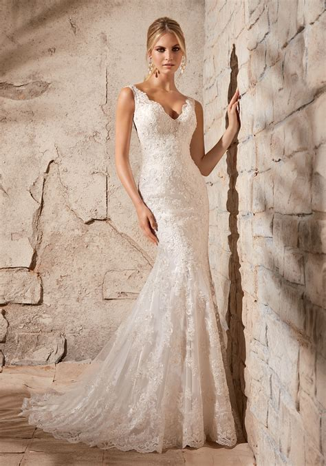 alencon lace on net with beading morilee bridal