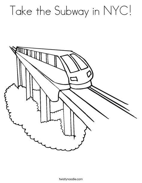Take The Subway In Nyc Coloring Page Twisty Noodle Nyc Subway Coloring Page