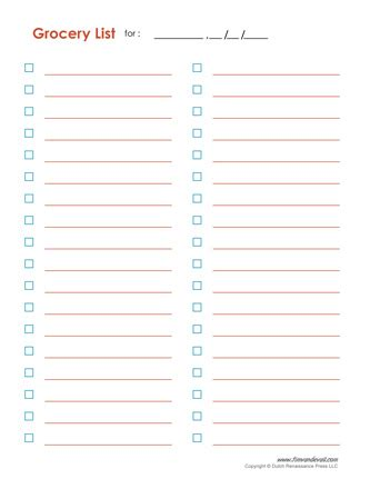 blank list template free printable grocery list templates grocery checklist pdf