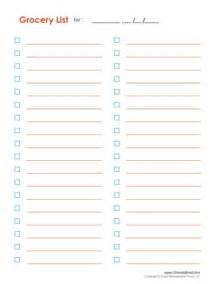 blank grocery list template free excel templates