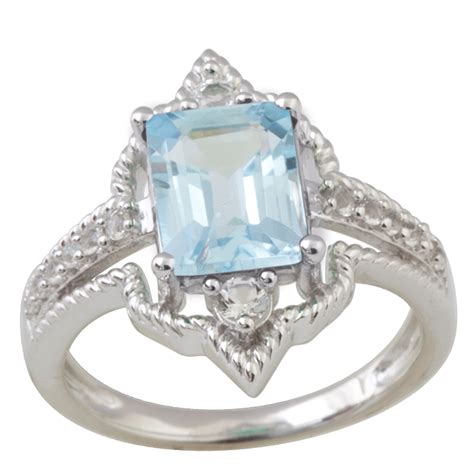 Octagon Silver Ring sterling silver ring with blue topaz 9x7 octagon shape