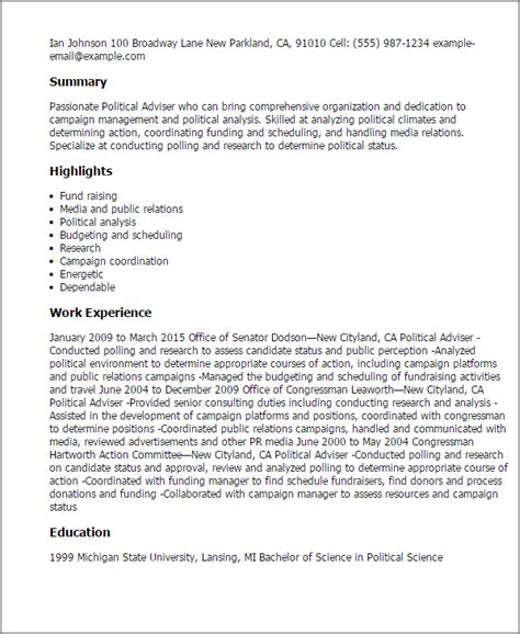 political science resume format professional political adviser templates to showcase your talent myperfectresume