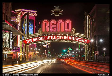 picture photo reno arch at night with light trails reno