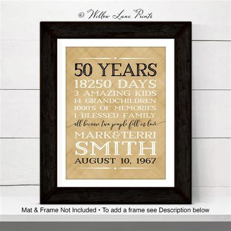 50th anniversary gift for parents anniversary gift 50 year