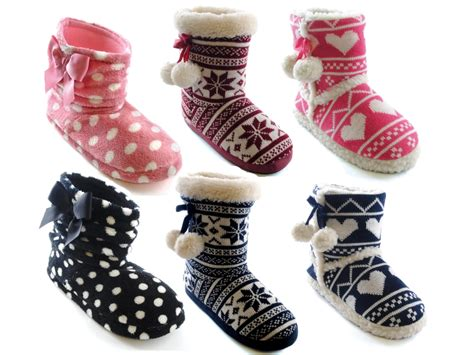 boot house shoes womens slipper boots booties slippers knitted or fleece girls ladies size uk 3 8 ebay