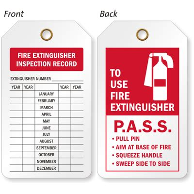 printable fire extinguisher tags 2 sided fire extinguisher inspection record tag sku tg 0574