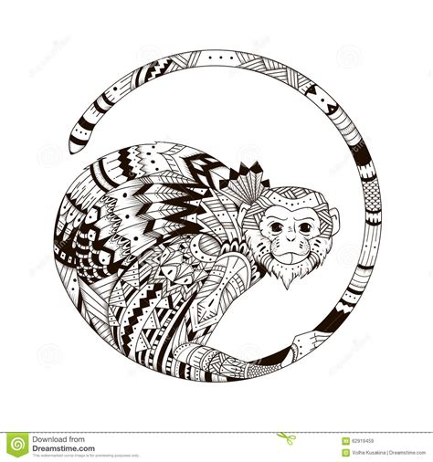 tribal monkey tattoo meaning sketch of print on a t shirt stock illustration