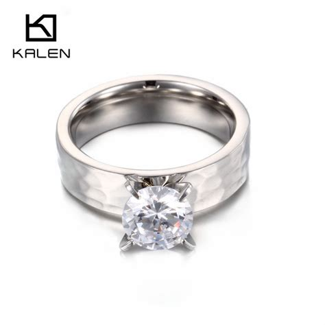 2pcs stainless steel engagement ring set high quality