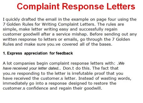 Response To Letter Complaint Letter Template October 2012