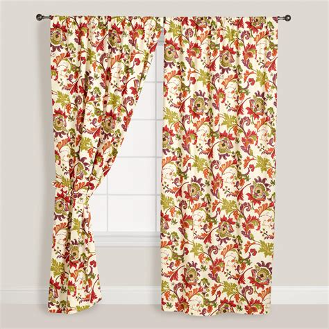 floral cotton curtains floral cione cotton curtains set of 2 world market